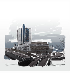 urban city drawing sketch vector image