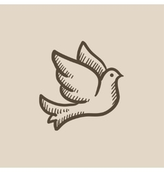 Wedding dove sketch icon vector image