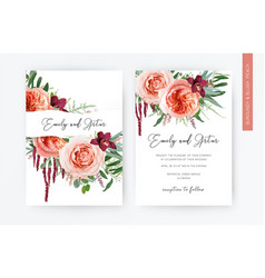 wedding floral invite invitation greeting card vector image