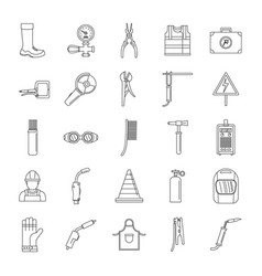 welder equipment icons set outline style vector image