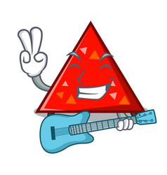 With guitar triangel mascot cartoon style vector