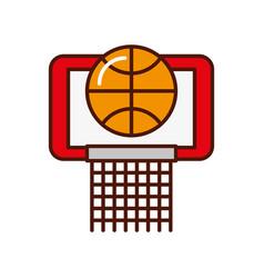brightly basket ball in the hoop cartoon vector image