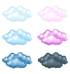 set of different funny cartoon fluffy clouds vector image