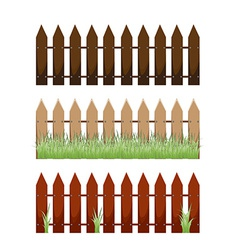 Wooden fence with grass vector image vector image