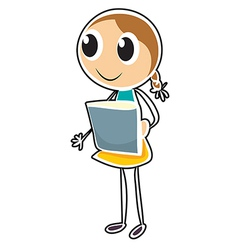 A sketch of a young girl holding an object vector image vector image