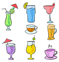 Cartoon design drink doodle set vector
