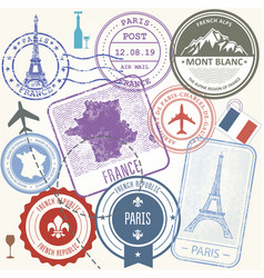 travel stamps set - france and paris journey vector image vector image