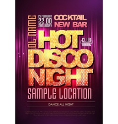 Disco poster hot night vector image vector image
