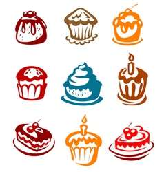 Fruitcakes ad pies set vector image