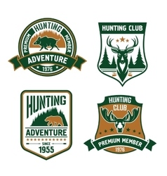 Hunting sport club shield icons vector