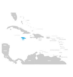 jamaica blue marked in the map of caribbean vector image
