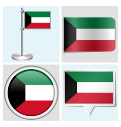 Kuwait flag - sticker button label flagstaff vector image vector image