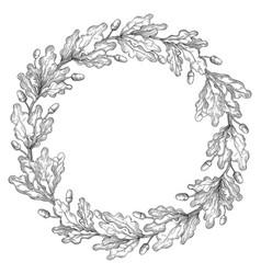 oak wreath frame vector image