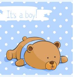 Postcard with a funny bear for a boy vector