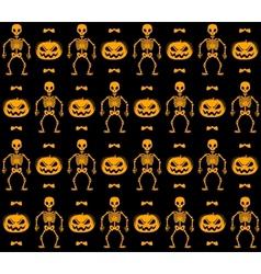 Seamless halloween pattern with skeletons pumpkins vector image