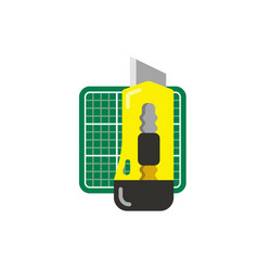 Stationery yellow knife and green cutting mat vector