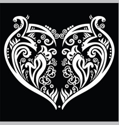 White Heart made out of swirls tattoo inspired vector image