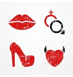 Woman and passion symbols vector image vector image