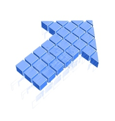 Arrow icon made of blue cubes vector image vector image