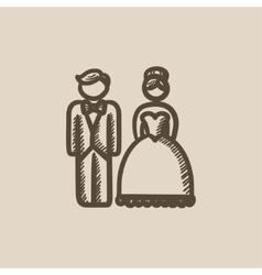 Bride and groom sketch icon vector image