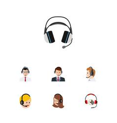 flat call set of hotline earphone call center vector image