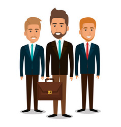 Group of businessman teamwork with portfolio vector