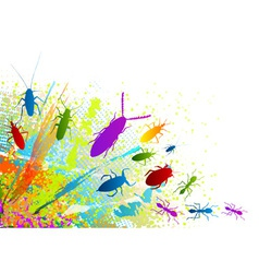 insect on the rainbow background vector image vector image