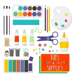 Kids Artistic materials set Art supplies vector image vector image