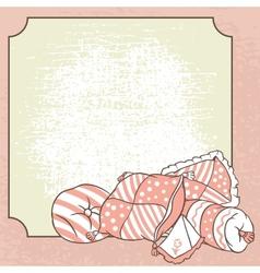 Pillows frame card for pajama party vector