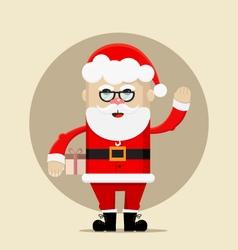 Santa Claus holding the gift and waving vector image vector image