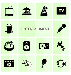 14 entertainment icons vector
