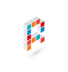 3d cube letter R logo icon design template vector