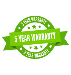 5 year warranty ribbon 5 year warranty round vector image