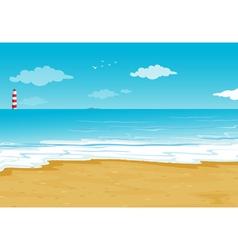 An ocean and a light house vector