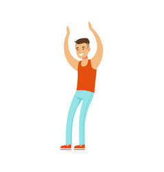 asian guy in top and jeans dancing on dancefloor vector image