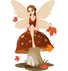 Autumn Fairy on the Mushroom vector image