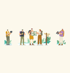 Backpacker characters on mountains or rock vector