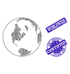best service composition of global map of world vector image
