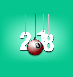 Billiard ball and 2018 hanging on strings vector