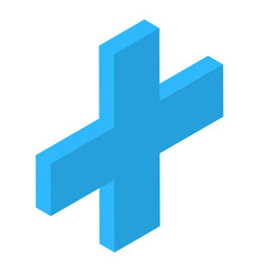 Blue plus sign icon isometric style vector