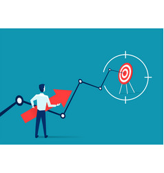 Businessman holding arrow and target inside aim vector