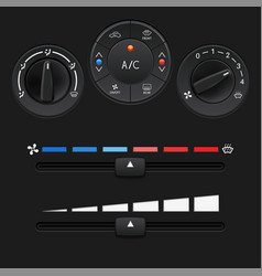Car dashboard control panel black buttons and vector