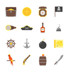 cartoon pirate signs icons set vector image
