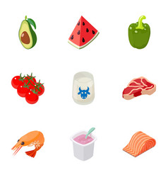 chemical food icons set cartoon style vector image