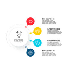 Circle infographic with 4 options structure chart vector