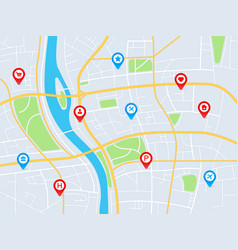City map with pins gps navigation route vector