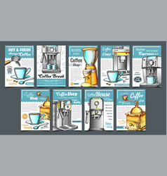 coffee machine holder and cup posters set vector image