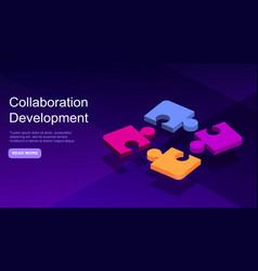 Collaborative development isometric business vector