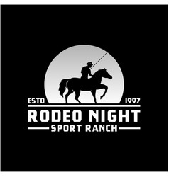 cowboy riding horse silhouette at night moon or vector image