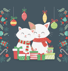 cute cats with presents and hanging balls vector image